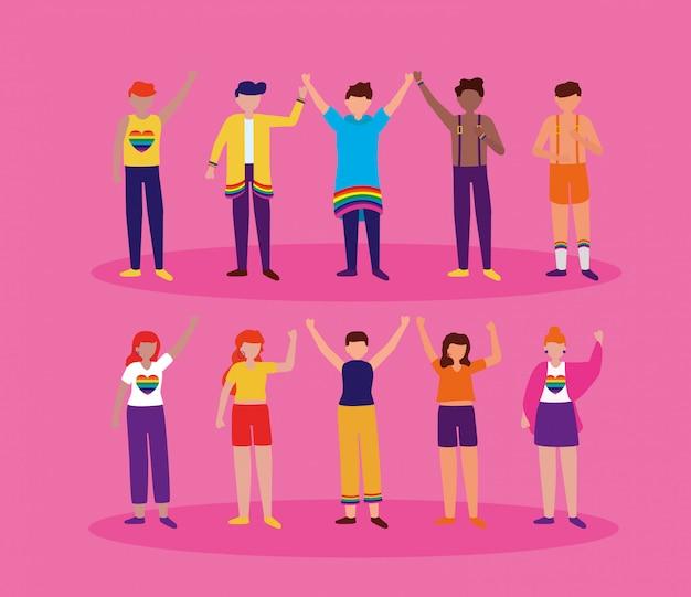 Het queer community lgbtq ontwerp Gratis Vector