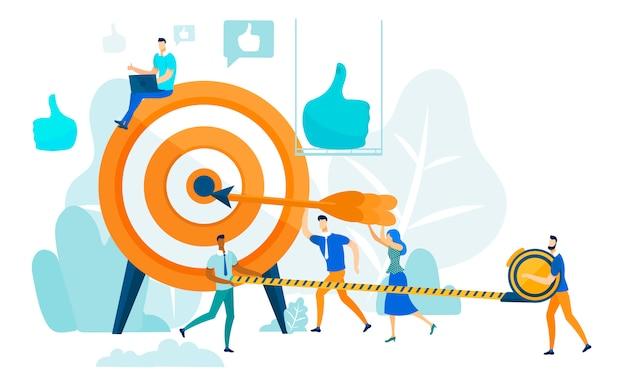 Het raken van target, leiderschap en teamwork concept. Premium Vector
