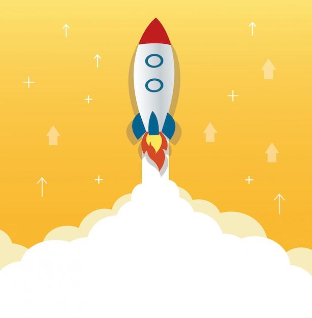 Het raketpictogram en de gele achtergrond Premium Vector