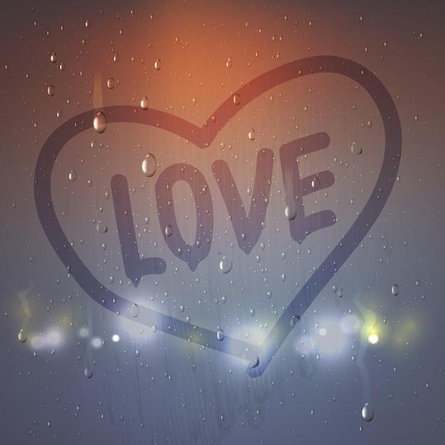 Het realistische liefdehart op misted glassamenstelling met hart schilderde een vinger op zwetende glas vectorillustratie Premium Vector