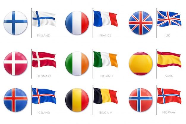 Het realistische pictogram van de kentekenvlag dat met verschillende kleuren van vlaggen op plastic kentekensillustratie wordt geplaatst Gratis Vector