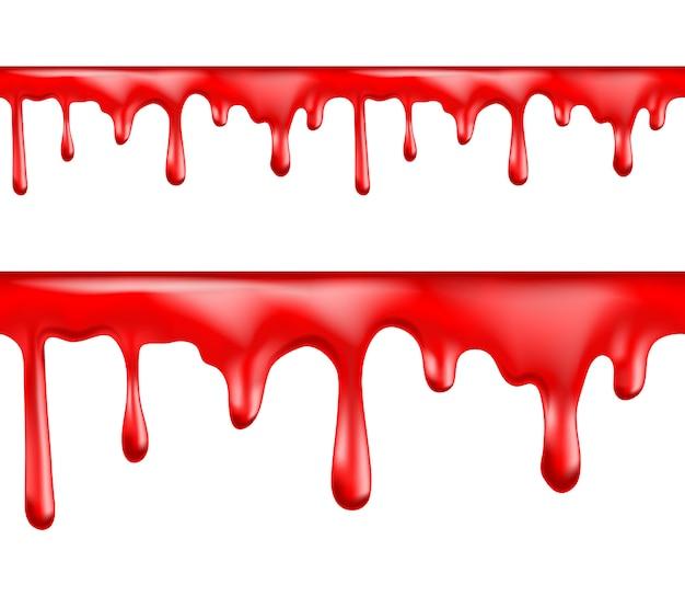 Het rode bloed druipt illustratiereeks Premium Vector