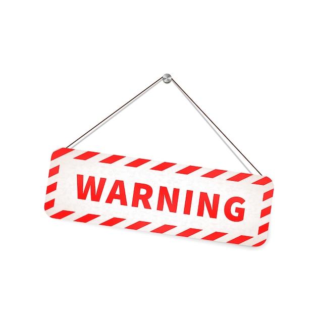 Het rode en witte grungewaarschuwingsbord hangen op de kabel op wit Premium Vector