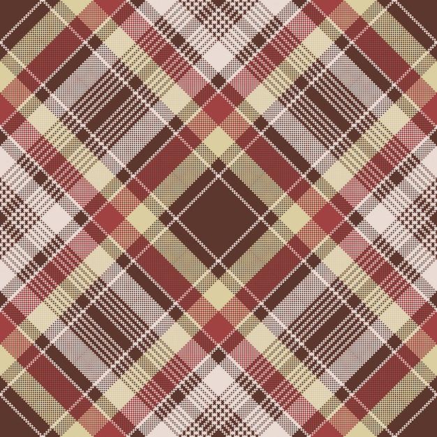 Het rode naadloze patroon van de de textuurplaid van de pixelstof Premium Vector