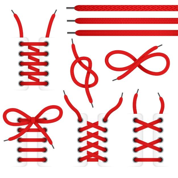 Het rode pictogram van kantschoenen plaatste met gebonden en untied schoenveters die op witte achtergrond worden geïsoleerd Gratis Vector