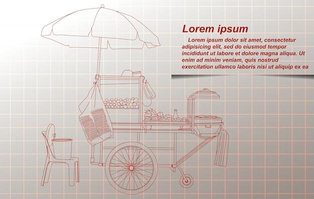 Het schetsen van draagbare kraam in thailand. Premium Vector