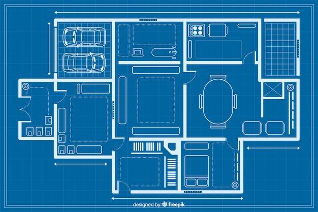 Het schetsen van een huisblauwdruk Gratis Vector