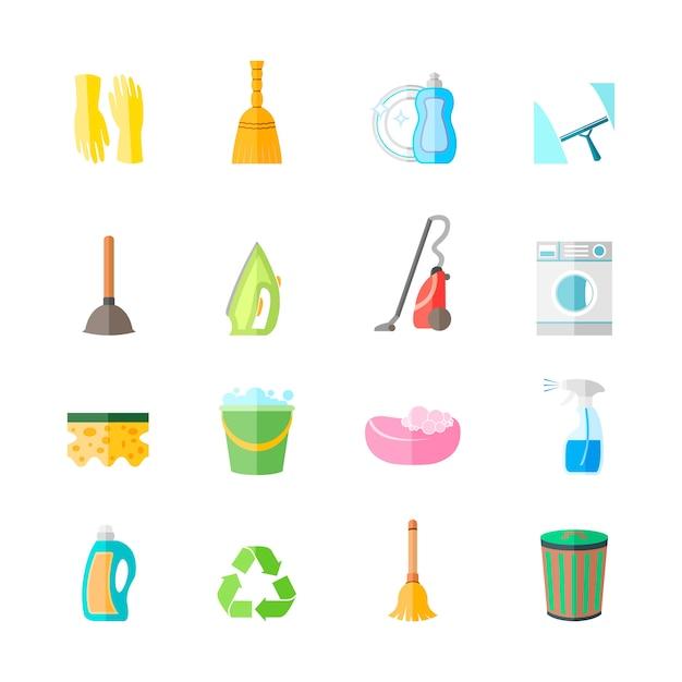 Het schoonmaken van de pictogrammenreeks van het huishoudelijk werkmateriaal van de ijzerborstel isoleerde vectorillustratie van de handschoenennevel Gratis Vector