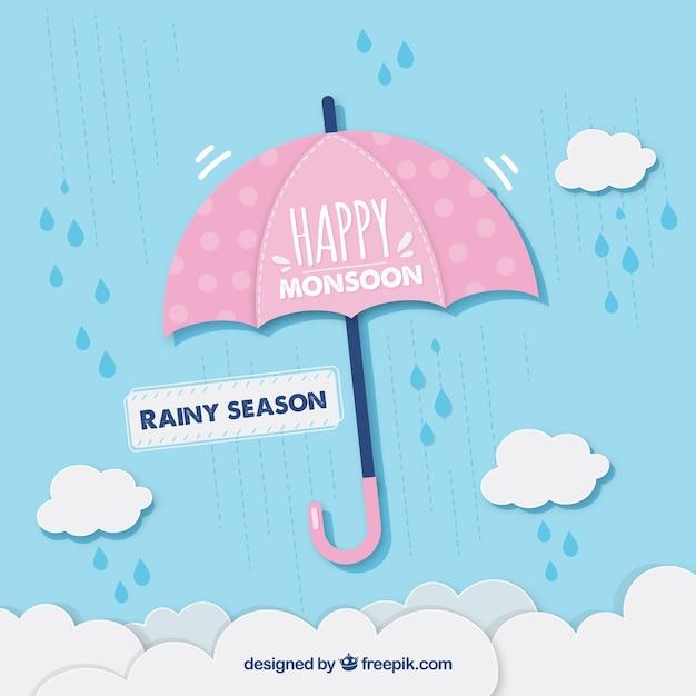 Het seizoenachtergrond van de moesson met paraplu Gratis Vector
