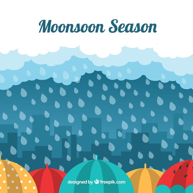 Het seizoenachtergrond van de moesson met regen Gratis Vector