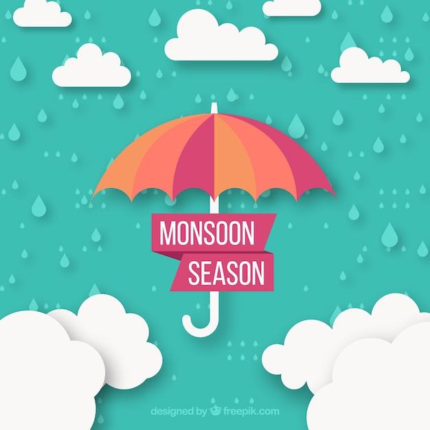 Het seizoenachtergrond van de moesson met wolken en paraplu Gratis Vector