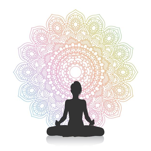 Het silhouet van een wijfje in yoga stelt tegen mandalaontwerp Gratis Vector