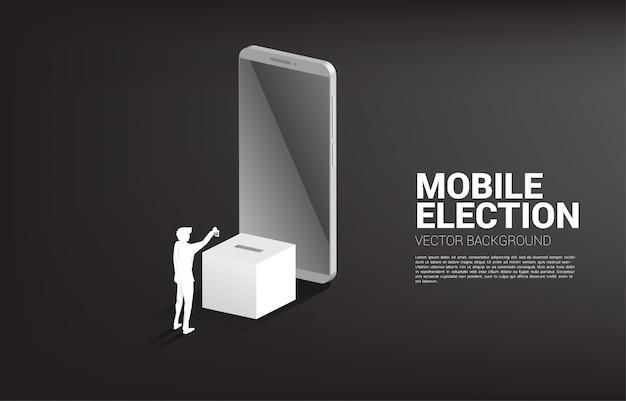 Het silhouet van zakenman bracht hun stem aan verkiezingsdoos. concept voor verkiezingsstem Premium Vector