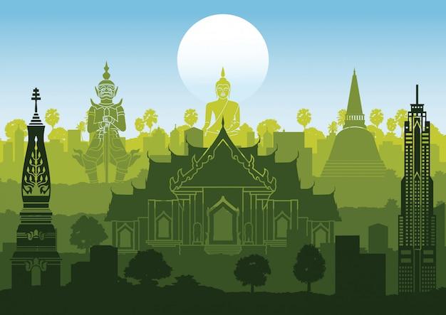Het silhouetstijl van thailand beroemde stijl met rijontwerp op zonsondergangtijd, groene en blauwe kleur Premium Vector