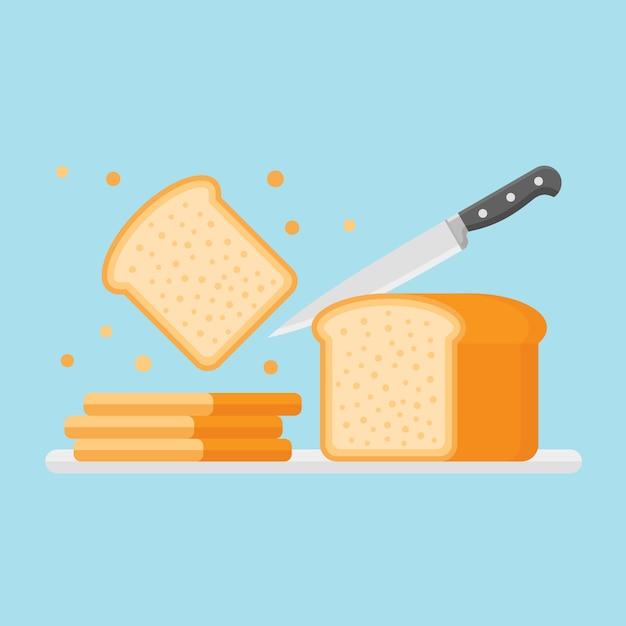 Het snijden van toast brood met mes in vlakke stijl. Premium Vector