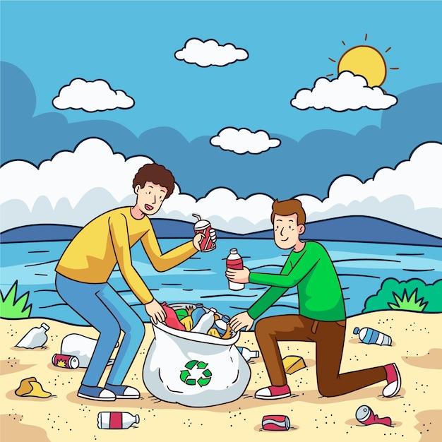 Het sociale concept van de zandliefdadigheid schoonmaken Gratis Vector