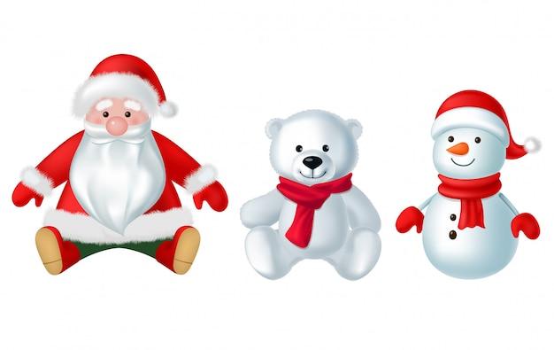 Het speelgoed van kerstmisdecoratie op witte achtergrondillustratiereeks die wordt geïsoleerd Premium Vector
