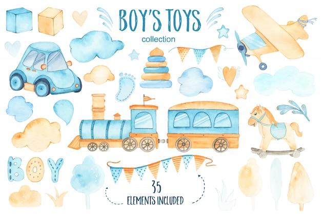 Het speelgoedbaby shower van waterverfjongens met de treinslinger van het autovliegtuig en bomenwolken dat wordt geplaatst Gratis Vector