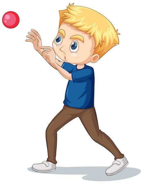 Het spelen van de jongen bal op geïsoleerd Gratis Vector