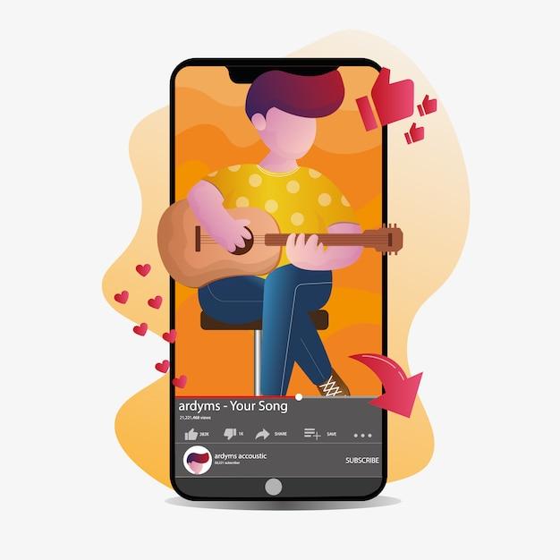 Het spelen van de jongen gitaar bij het leven streaming met smartphoneillustratie Premium Vector