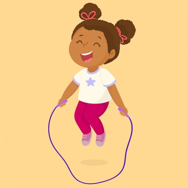 Het spelen van het meisje touwtjespringen Premium Vector