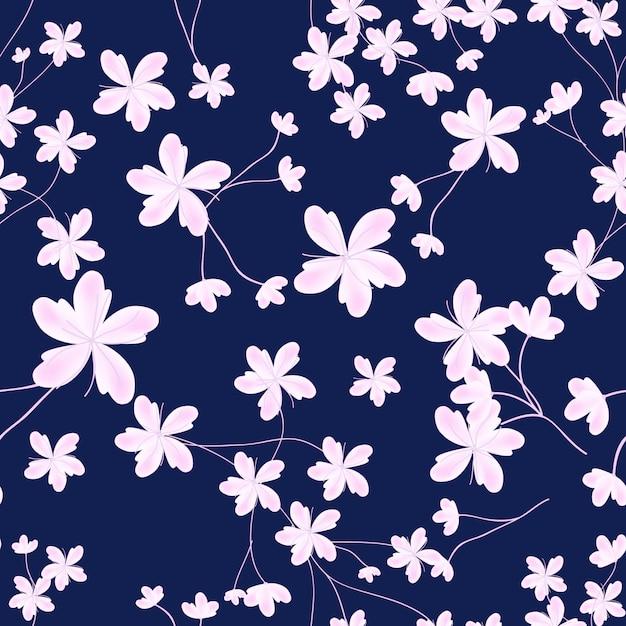 Het sreamless patroon van de lente met roze kersenbloesem Premium Vector
