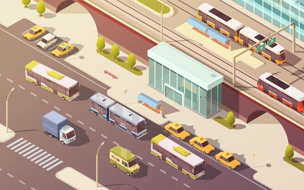 Het stadsvervoer met de bus van de fietsauto en de isometrische vectorillustratie van tramsymbolen Gratis Vector