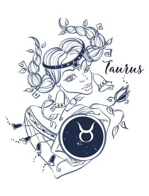 Het sterrenbeeld taurus als een mooi meisje. horoscoop. Premium Vector