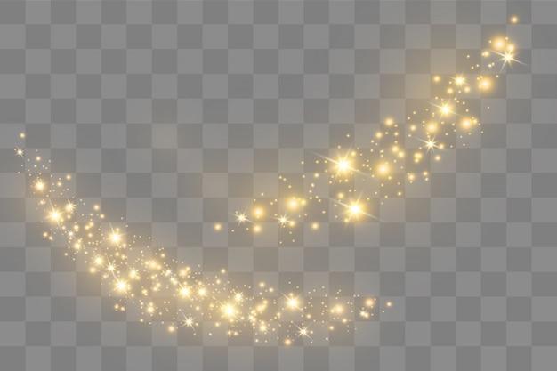 Het stof vonkt en gouden sterren schijnen met speciaal licht. sprankelende magische stofdeeltjes. Premium Vector