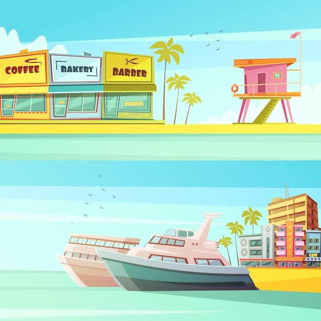 Het strand horizontale banners van miami in beeldverhaalstijl Gratis Vector