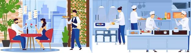 Het team van de restaurantchef-kok het koken in keuken, dient de kelner mensen op romantische datum, illustratie Premium Vector