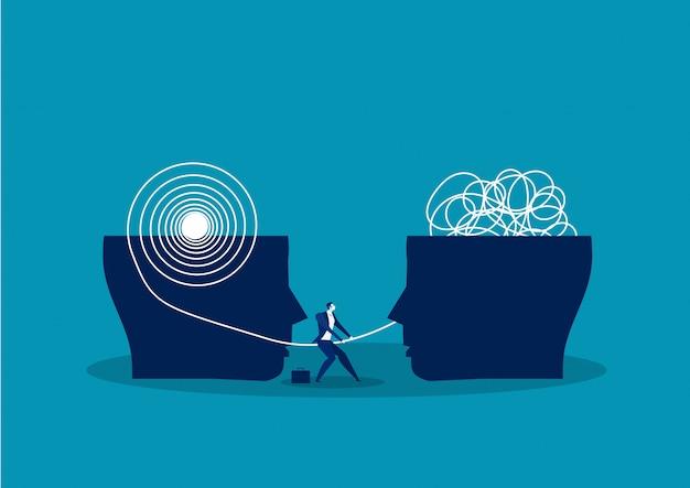Het tegenovergestelde denken chaos en orde in gedachten concept. vectorillustratie Premium Vector