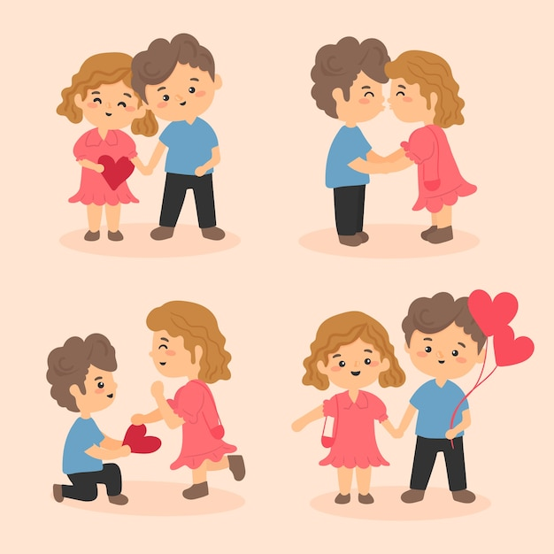 Het thema van de het paarinzameling van de valentijnskaartendag voor illustratie Gratis Vector