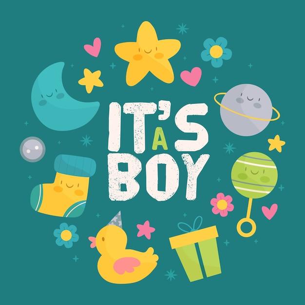 Het thema van het de jongensevenement van de babyjongen Gratis Vector
