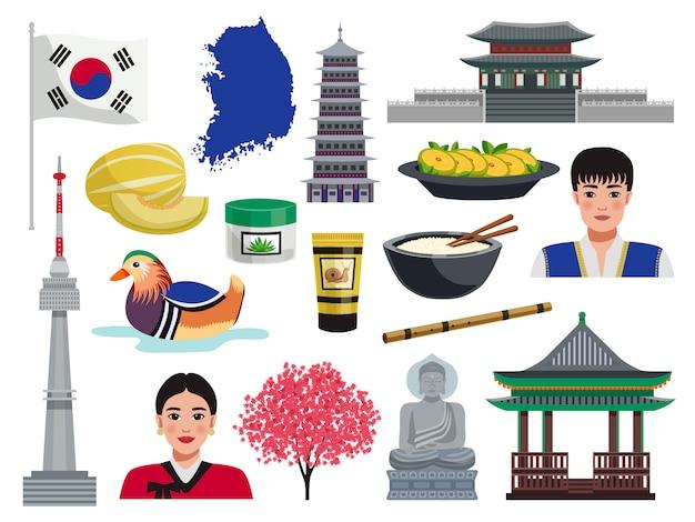 Het toerismereis van zuid-korea plaatste met geïsoleerde pictogrammen van nationaal symbolen cultureel waardenvoedsel en mensenillustratie Gratis Vector