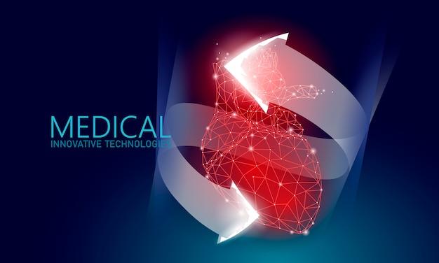 Het totale gezonde hart klopt 3d geneeskunde laag polyconcept. Premium Vector