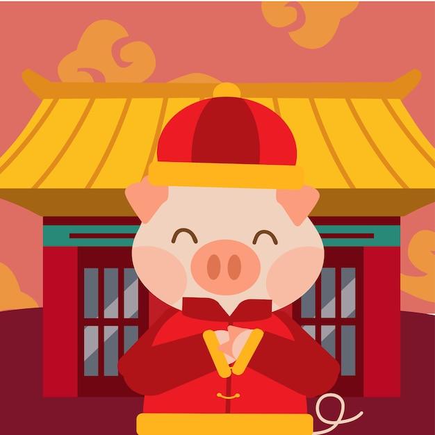 Het varken voor chinees nieuw jaar ingesteld Premium Vector