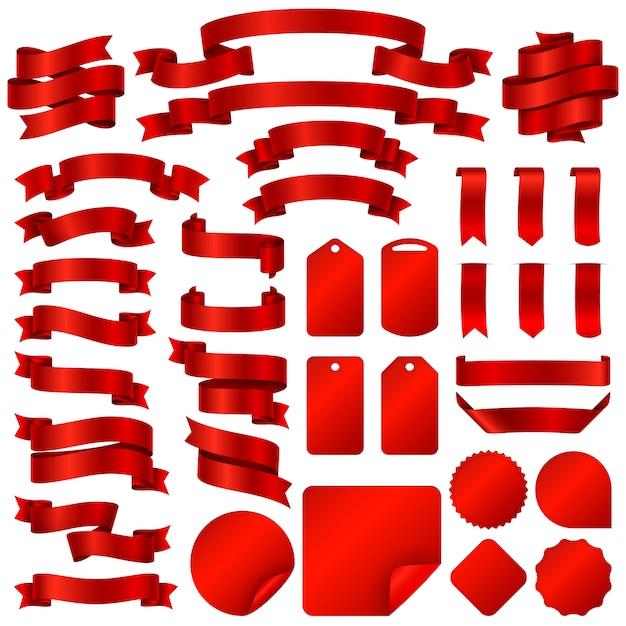 Het verpakken van rode lintbanners en de vectorreeks van prijskaartjekentekens. Premium Vector