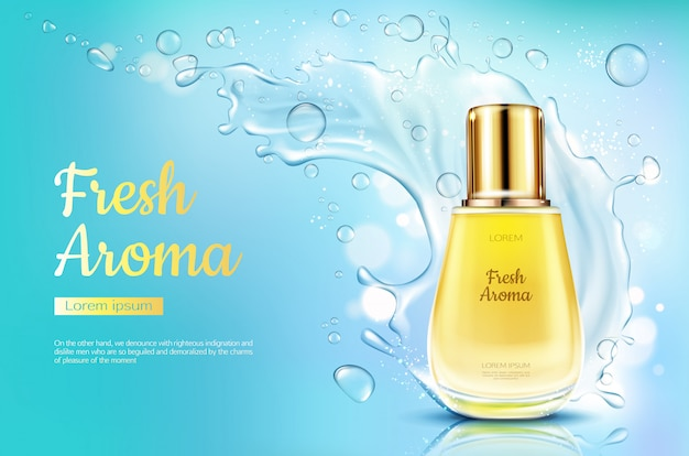 Het verse aroma van het parfum in glasfles met waterplons op blauwe vage achtergrond. Gratis Vector