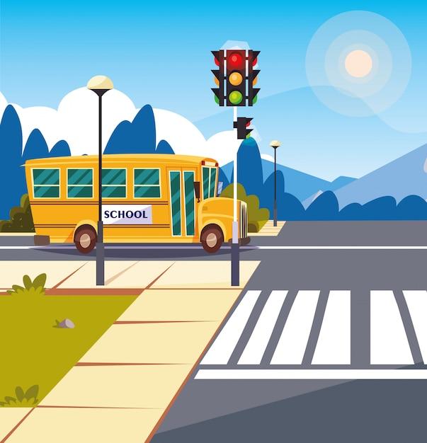 Het vervoer van de schoolbus in weg met verkeerslicht Premium Vector