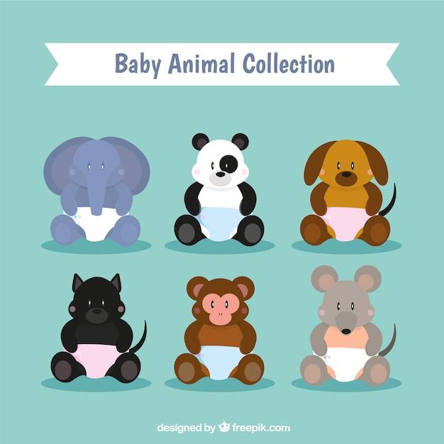 Het verzamelen van babydieren Gratis Vector