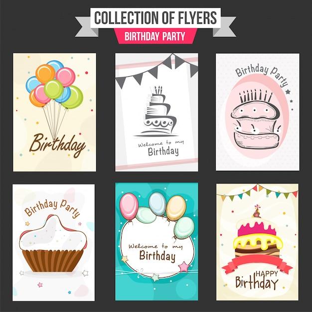 Het verzamelen van de partij folders met illustratie van kleurrijke ballonnen, zoete gebakjes en cupcake Gratis Vector