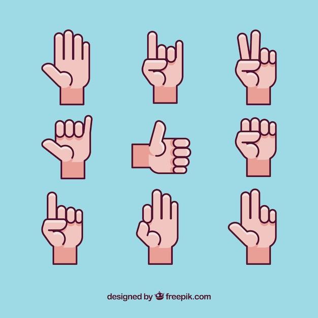Het verzamelen van gebarentaal iconen Gratis Vector