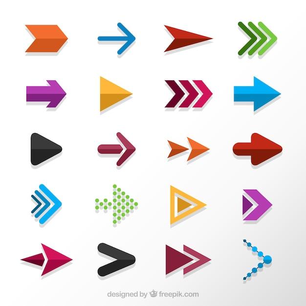 Het verzamelen van gekleurde pijlen in plat design Gratis Vector