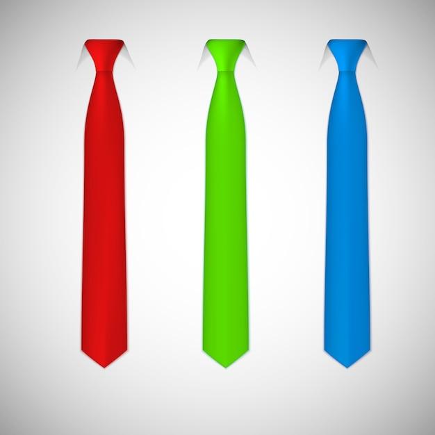 Het verzamelen van gekleurde stropdassen Premium Vector
