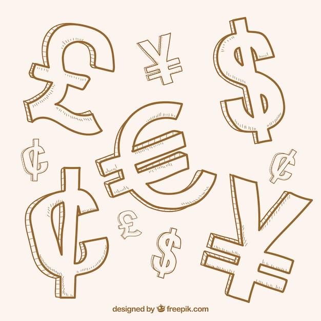 Het verzamelen van geld symbolen Gratis Vector