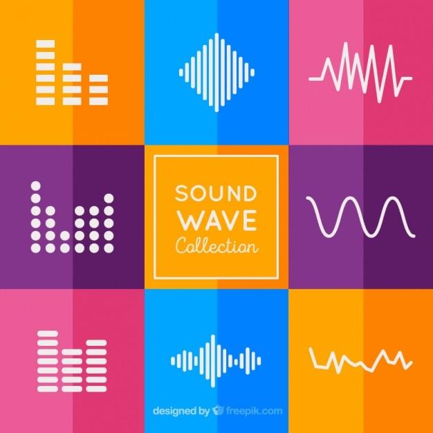 Het verzamelen van geluidsgolven met kleurrijke achtergrond Gratis Vector