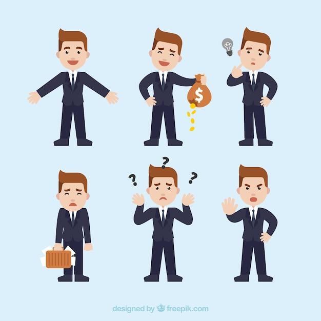 Het verzamelen van grote zakenman karakter met verschillende uitdrukkingen Gratis Vector