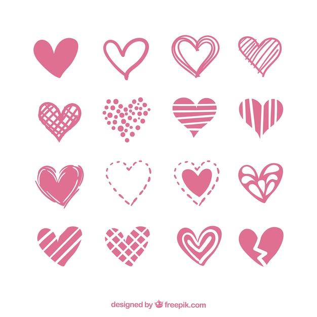 Het verzamelen van harten met verscheidenheid van ontwerpen Premium Vector