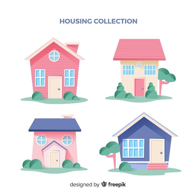 Het verzamelen van huizen Gratis Vector